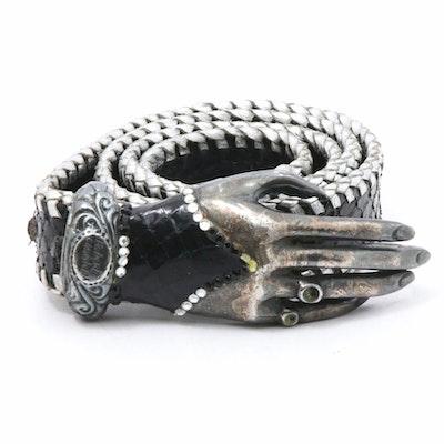 Robert Christoph of Zurich Snakeskin Belt with Embellished Hand Buckle