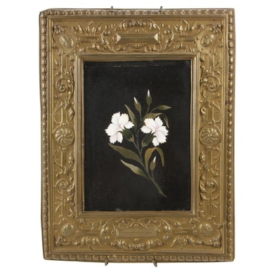 Pietra Dura Inlay Carnation Plaque in Dutch Baroque Style Frame