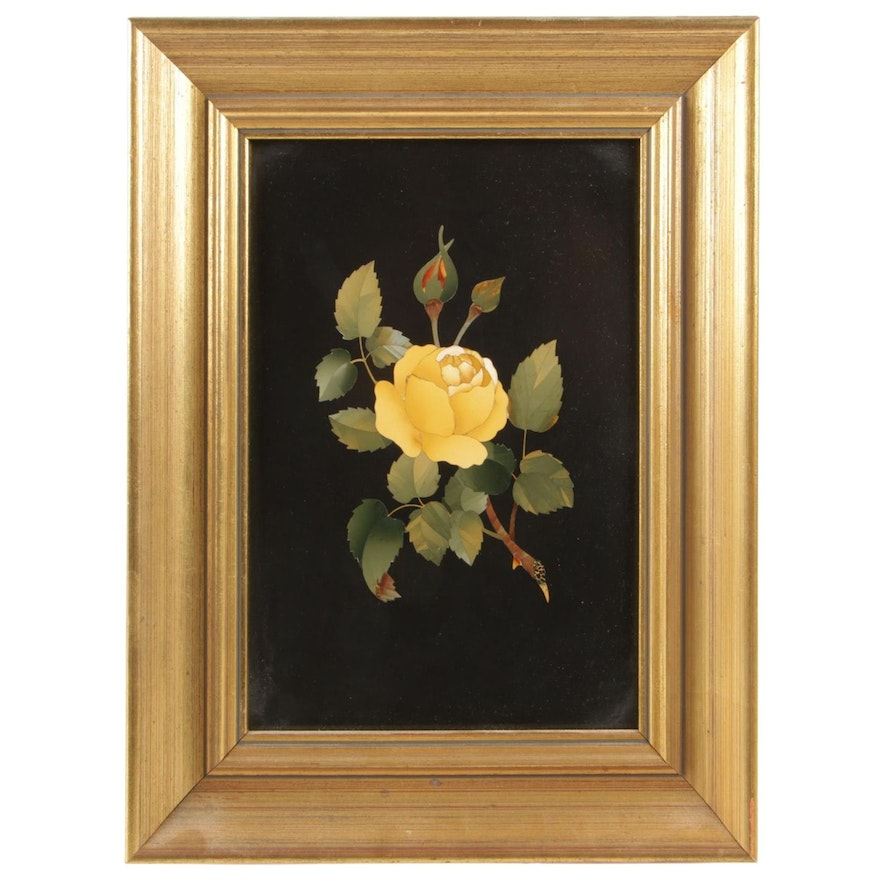 Pietra Dura Inlay Yellow Rose Plaque in Giltwood Frame