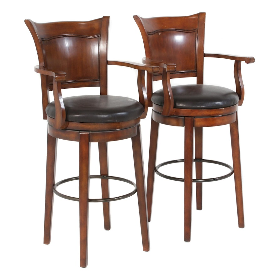 Transitional Style Leather Upholstered Swivel Barstools, Pair