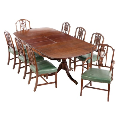 Nine-Piece Federal Style Mahogany Dining Set, Mid-20th Century