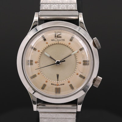 Vintage LeCoultre Wrist Alarm Stainless Steel Wristwatch