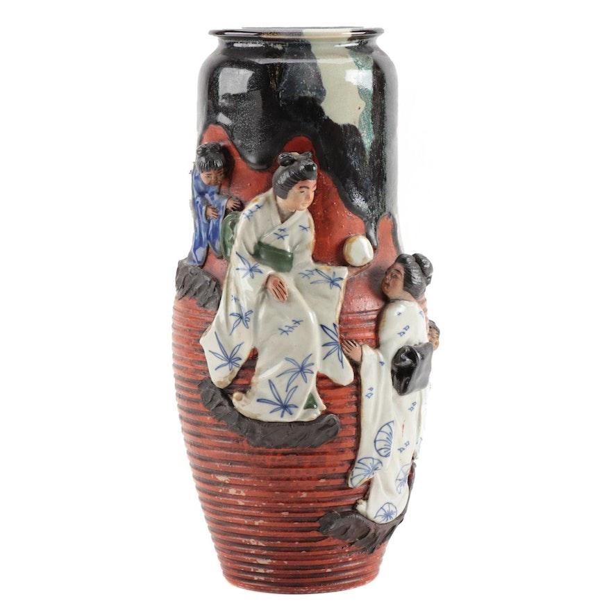 Ban-Ni Sumida Gawa Ceramic Vase with Applied Geisha Figures