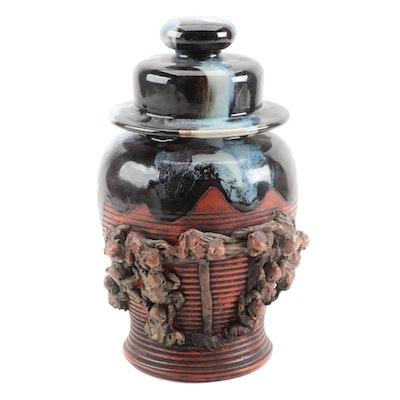Ban-Ni Sumida Gawa Ceramic Temple Urn with Applied Monkey Figures