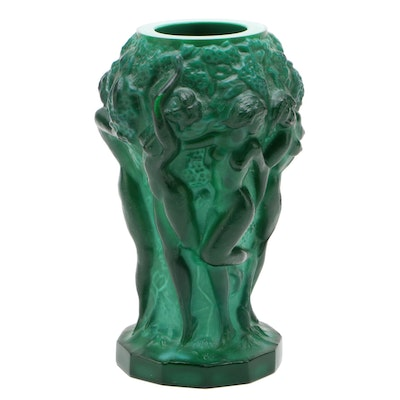Czech Malachite Glass Figural Graces Bud Vase, 20th Century