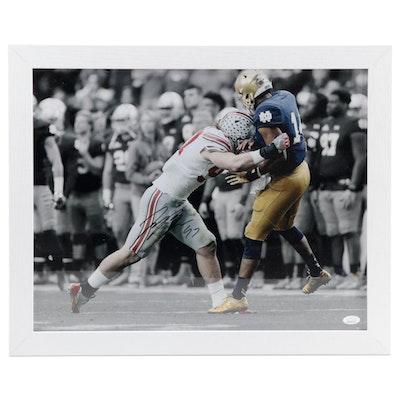 Joey Bosa Signed Ohio State Football Photo Print, Framed  COA