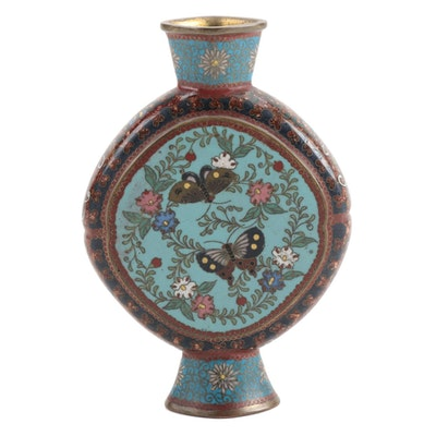 Japanese Cloisonné Enamel Bud Vase with Three-Clawed Dragon and Butterflies