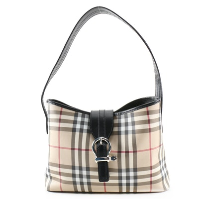 "Burberry ""House Check"" Coated Canvas and Black Leather Shoulder Bag"