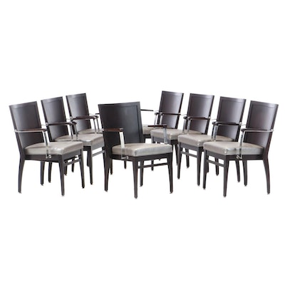 Contemporary Espresso Finish Vinyl Upholstered Dining Chairs