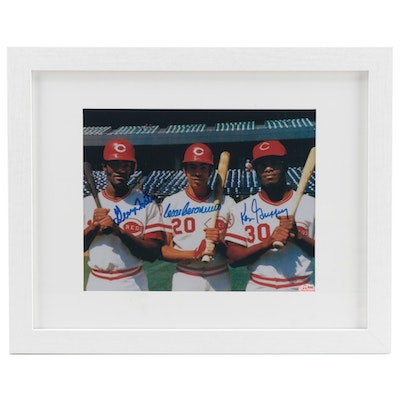 Geronimo, Foster, and Griffey Signed Cincinnati Reds Framed Photo Print, COA
