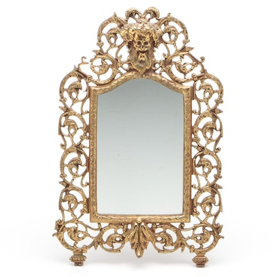 Rococo Style Brass Tabletop Mirror