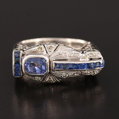 1940s 10K White Gold Sapphire and Diamond Ring