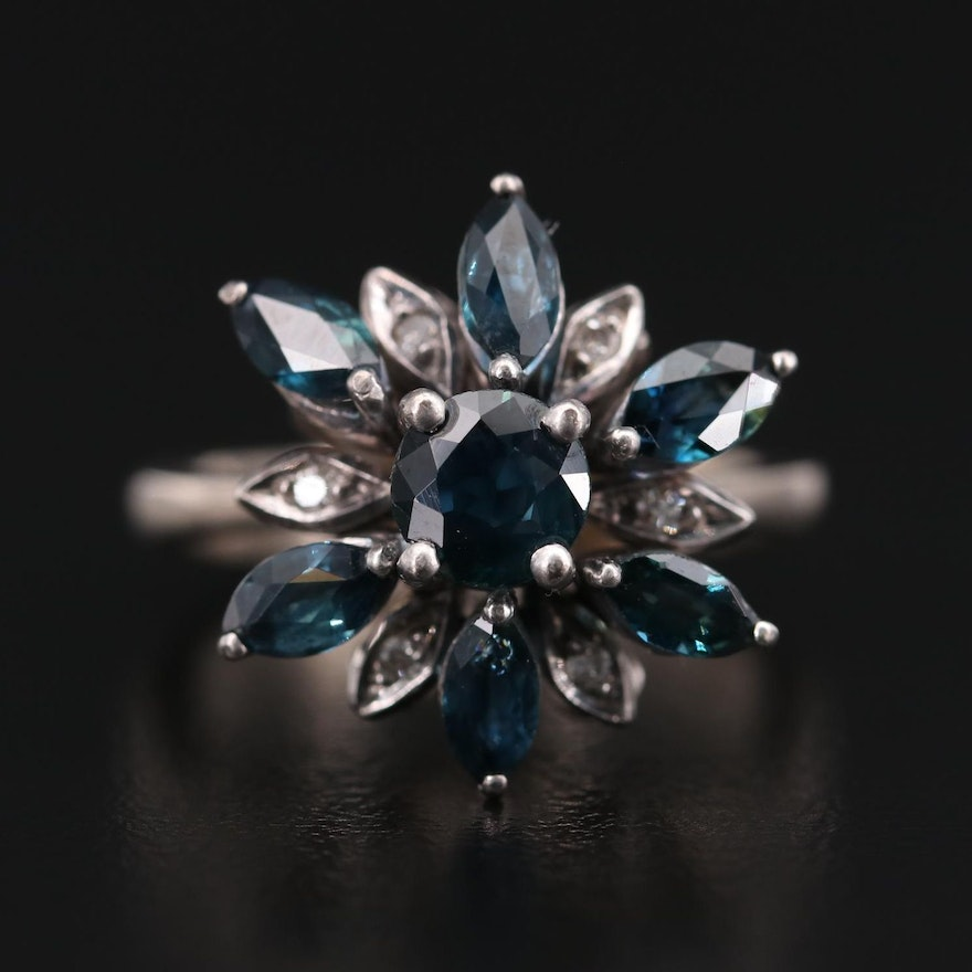 Vintage Silver and Palladium Alloy Sapphire and Diamond Ring