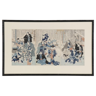 "Japanese Ukiyo-e Woodblock Triptych ""A Cure for Actors' Flaws"", 1864"