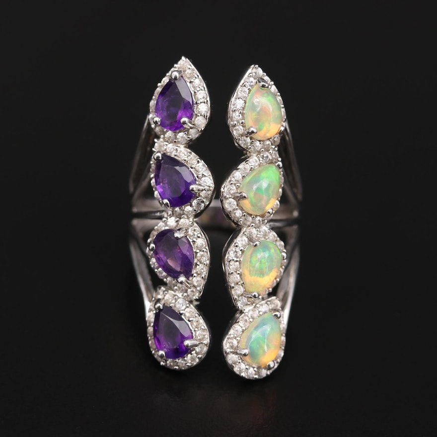 Sterling Silver Opal, Amethyst, and White Zircon Open Top Ring