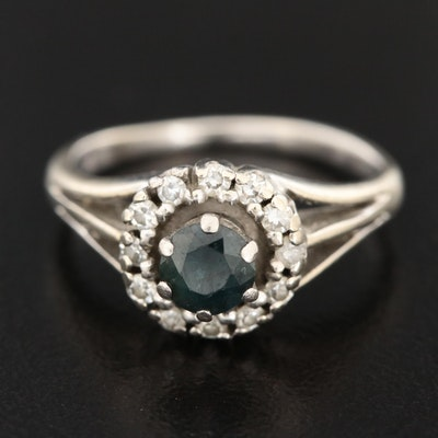 14K White Gold Sapphire Ring with Diamond Halo