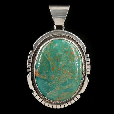 Signed Southwestern Style Sterling Silver Turquoise Pendant