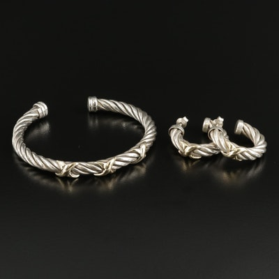 Sterling Silver Cable Cuff Bracelet and Hoop Earrings with 18K Gold Accents