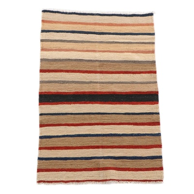 3'1 x 4'10 Handwoven Afghan Kilim Banded Wool Rug