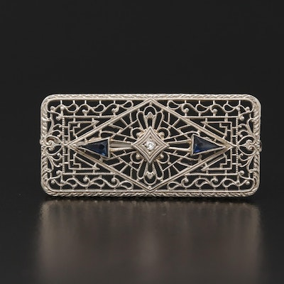 Art Deco 10K White Gold Diamond and Faceted Glass Brooch