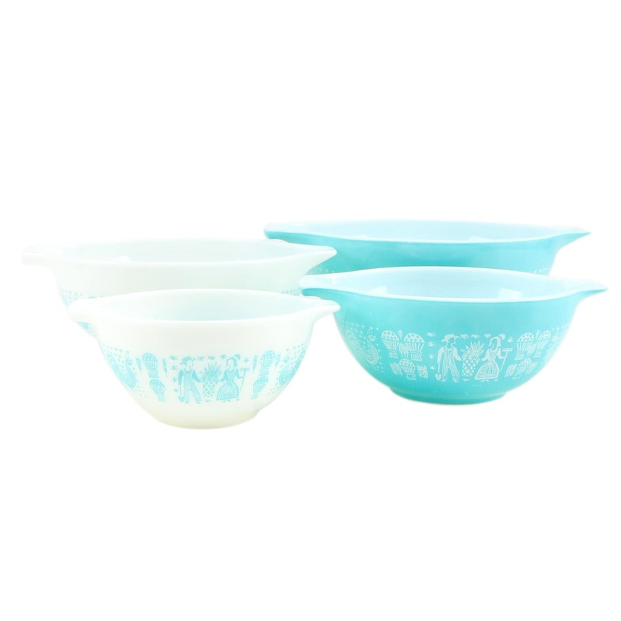 """Pyrex White and Turquoise """"Butterprint"""" Cinderella Mixing Bowls, 1957–1968"""