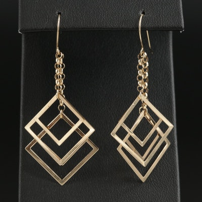 14K Yellow Gold Graduated Square Dangle Earrings