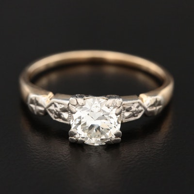 14K Yellow Gold 0.77 CT Diamond Solitaire Ring with Platinum Accents