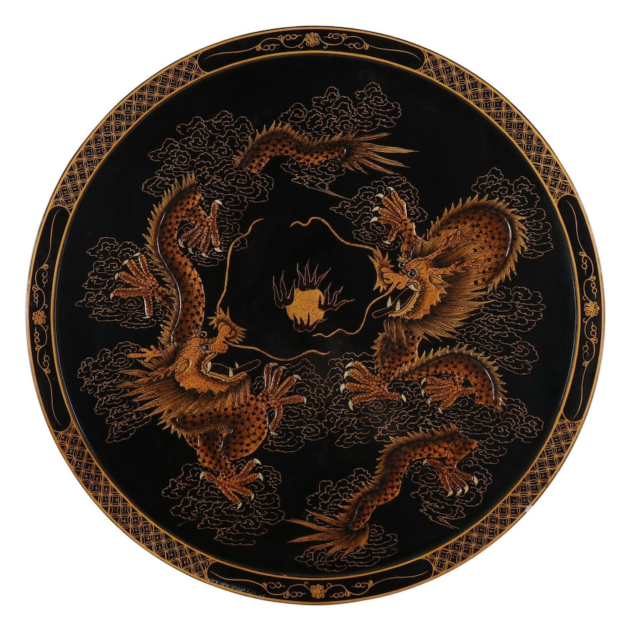 Chinese Dragon Mixed Media Painting on Circular Panel