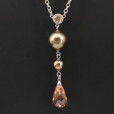 Belle☆étoile Sterling Cubic Zirconia and Pearl Necklace