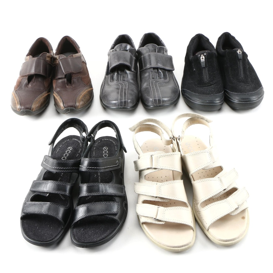Ecco, Easy Spirit, and Keds Leather and Faux Suede Walking Shoes and Sandals