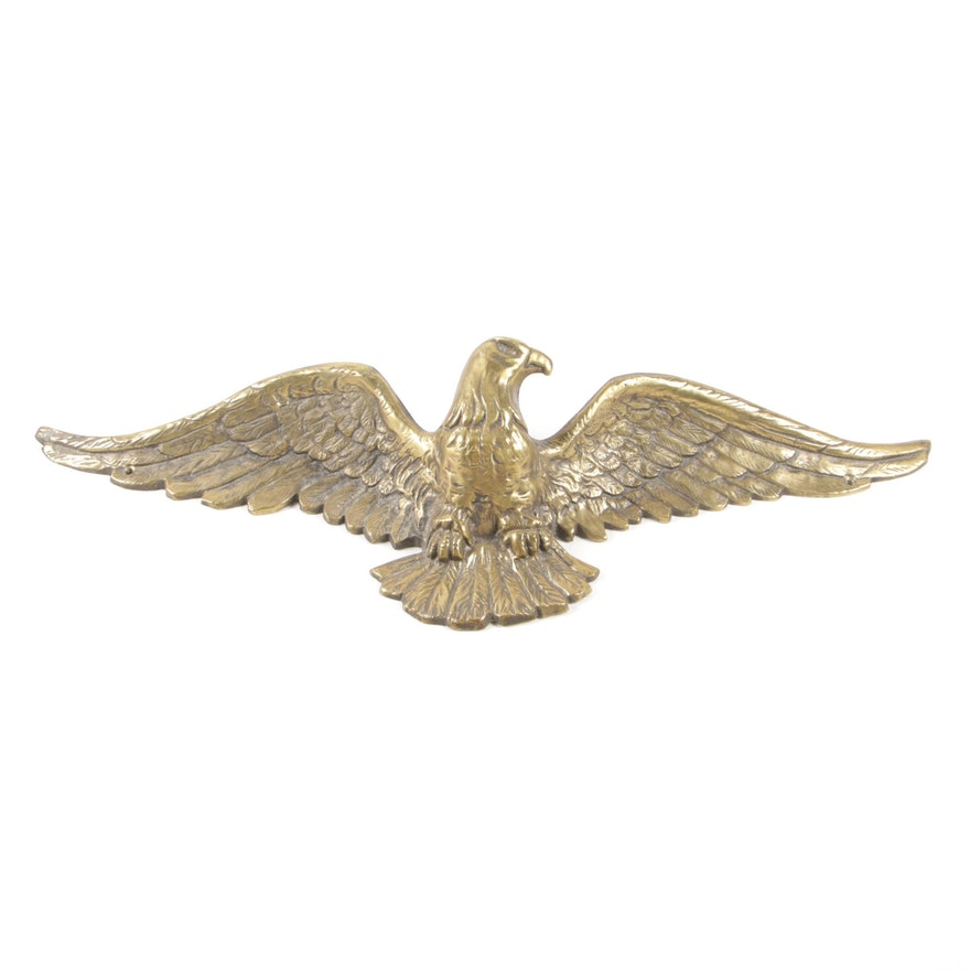Cast Brass Eagle Wall Decoration, Mid-20th Century