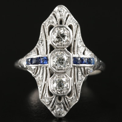 Edwardian Platinum Diamond and Synthetic Sapphire Ring