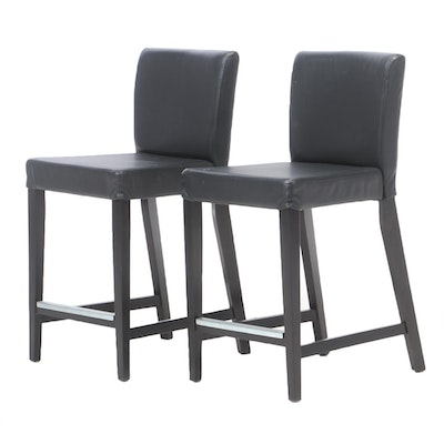 "Pair of IKEA ""Henriksdal"" Leather Upholstered Barstools"