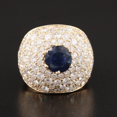 14K Yellow Gold 7.05 CTW Diamond and Sapphire Bombé Ring