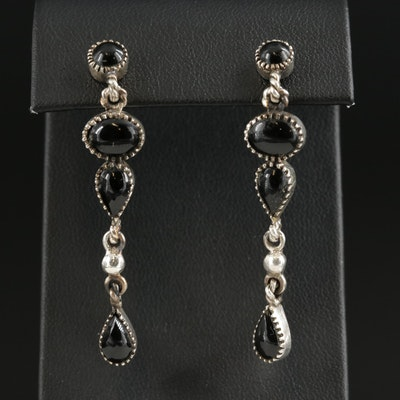 Sterling Silver Black Onyx Drop Earrings