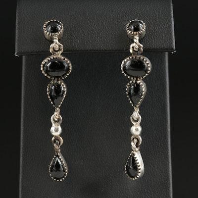 Sterling Silver Black Onyx Drop Earrings