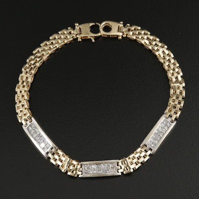 14K Yellow Gold 1.05 CTW Diamond Bracelet with White Gold Stations