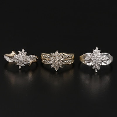 10K Yellow Gold and White Gold Diamond Cluster Rings