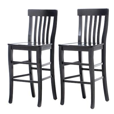 Italian Black Lacquered Barstools, Pair