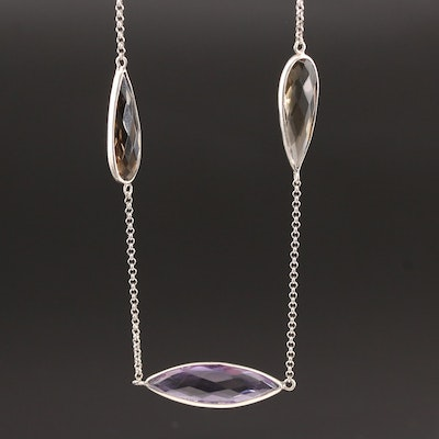 Lori Bonn Sterling Silver Amethyst and Smoky Quartz Station Necklace