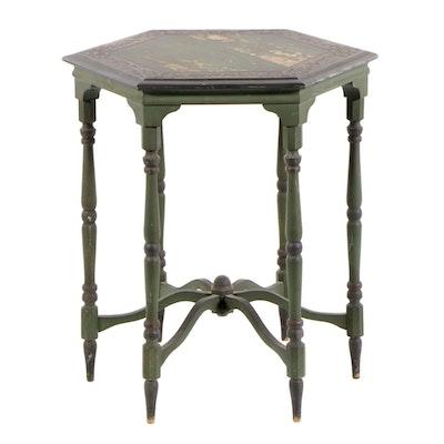 Hexagonal Painted Center Table, circa 1920
