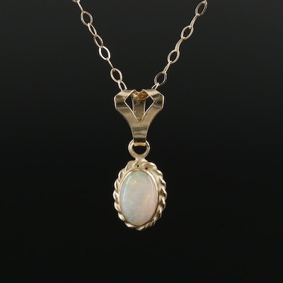 14K Yellow Gold Opal Pendant on Cable Chain Necklace