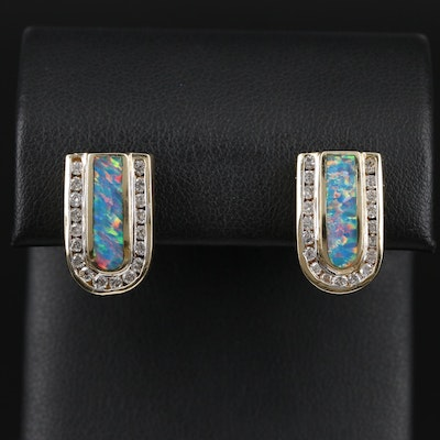 14K Synthetic Opal and Diamond Clip On Earrings