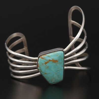 Signed Contemporary Southwestern Style Sterling Turquoise Cuff Bracelet