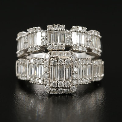 14K White Gold Diamond Ring and Band