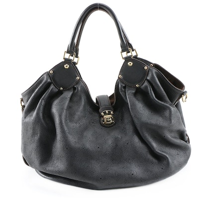 Louis Vuitton XL Bag in Black Monogram Mahina Leather with Contrast Stitching