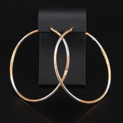 14K Tri-Color Gold Textured Hoop Earrings