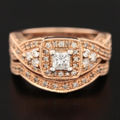 14K Rose Gold Diamond Crossover Ring and Shadow Band Set