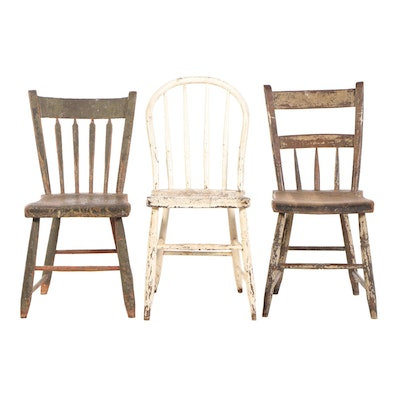 Three Painted Side Chairs, 19th Century