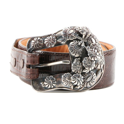Pat Areias Sterling Silver Dragonfly and Floral Buckled Lizard Skin Belt